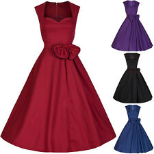Vintage Womens 1950's Boat Full Skirt Rockabilly Swing Evening Party Dress S-XXL