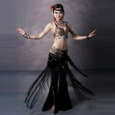 Handmade Belly Dance Costume Bra Belt and skirt Set Fancy Dress Dance School