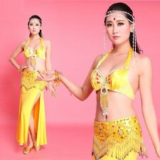 Belly Dance Bra Top Hip Scarf Belt Skirt 3pcs Set Handmade Fancy Show Costume