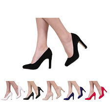 NEW WOMENS LADIES BLOCK HIGH HEEL SMART WORK OFFICE PARTY COURT SHOES SIZE 3-8