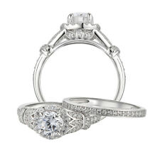 1.7ct Round Cut CZ 925 Sterling Silver Engagement Wedding Ring Set Women's 5-10
