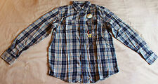 PLAID, POINTED COLLAR, 2 POCKET, BUTTON DOWN, LONG SLEEVE, FLANNEL SHIRT MENS-S