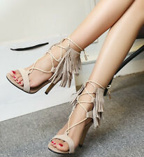 Chic Womens Tassel Fringe Shoes Pumps Stilettos High Heels Roman Gladiator Shoes