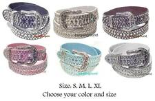 New Women Cowgirl Western Rhinestone Bling Snap on Buckle Leather Belt S M L XL