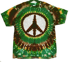 Hand-dyed Tie Dye T-shirt EARTH COLORS PEACE SIGN Size SMALL & 4X