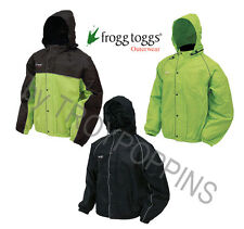 FT63132 FROGG TOGGS GEAR BLACK RAIN JACKET REFLECTIVE ROAD TOAD MOTORCYCLE WEAR