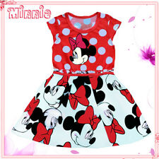 Kids Reds Minnie Polkadot Fairytale Party Outfit Girls Dresses AGE 1-2-3-4-5-6Y