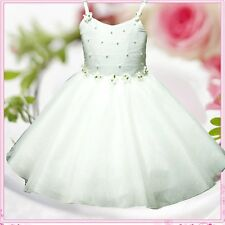 Kids Off White Flower Girls Party Bridemaid Dresses SIZE 2-3-4-5-6-7-8-9-10-12Y