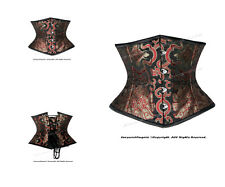 Full Steel Boned Heavy Lacing Brocade Underbust Shaper Corset #HC8570B(BRO)