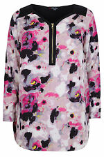 Yoursclothing Plus Size Womens Smudge Print Top With Zip Detail