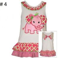 BONNIE JEAN Girls Spring Easter Summer Elephant Sequin Ruffle Bow Dress 12 18 24
