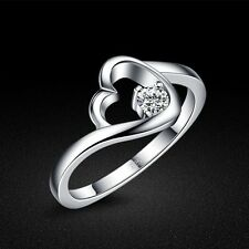 Genuine Solid Sterling Silver Clear CZ Heart Lady's Ring Size 5 6 7 8 PR087