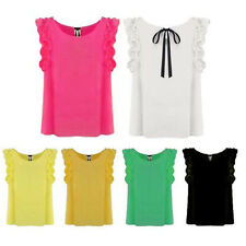 Women Lady Candy Color Short Lotus Sleeve Chiffon Top Shirt Blouse Ribbon Bowtie