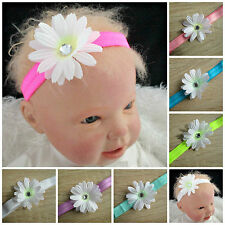 Baby Girl's Daisy Flower Headband 8 Colours to Choose From White Pink Blue