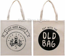Tote Cotton Shopper Reusable Eco Shopping Bag For Life 5p Old Bag Fun Humour