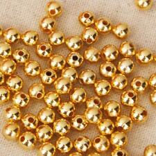 4mm/6mm 100pcs Plated Gold Metallic Round Spacer Beads for DIY Jewelry Findings