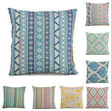 Retro Cotton Linen Geometric Flower Square Throw Pillow Cases Sofa Cushion Cover