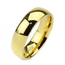 Solid Titanium 6 MM Unisex 14 KT Yellow Gold Plated Fashion Ring Wedding Band
