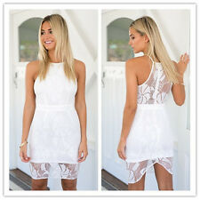 2016 New Womens Mini Dress Sleeveless Party Evening Bodycon White Lace High Neck