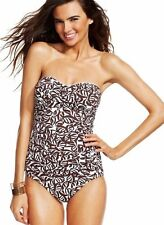 NWT Anne Cole Ruched Falling Leaves Strapless Bandeau One-Piece Swimsuit Sz 8 16