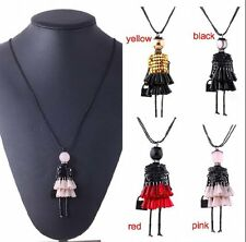 Long Sweater Cute Little Girl Doll Pendant Crystal Necklace Beauty Colorful Gift