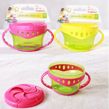 1pc yellow pink kids children non-spill snack cup cookie food container bowl