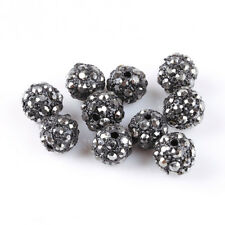 10Pcs Shiny Black Ball Pave Crystal Rhinestone Spacer Beads Findings DIY 10mm