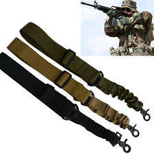 Single Two Dual Point Tactical Adjustable Bungee Rifle Gun Sling System Strap