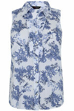 Yoursclothing Plus Size Womens Floral Print Sleeveless Shirt With Frill Detail