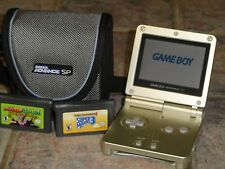 Nintendo Game Boy Advance SP Gold Handheld System with 2 Mario Games Lot Bundle!