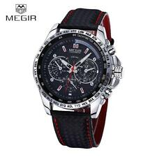MEGIR Sport Military Mens Genuine Leather Waterproof Analog Quart Watch UK H6Y7