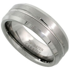 Tungsten Jewelry - 8mm Grooved Center Band Ring (TJR006)