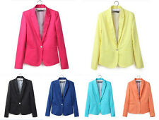 Womens Long Sleeve One Button Candy Color Blazer Casual Jacket Suit Coat