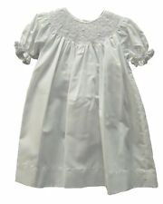 Petit Ami White Infant Girls Bishop Smocked Embroidered Christening Gown 3M - 9M