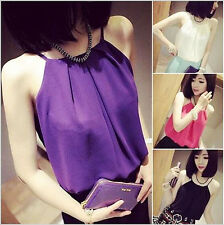 WOMENS LADIES SUMMER SLEEVELESS STRAPPY VEST BLOUSE CAMI CHIFFON TANK TOP TSHIRT