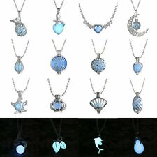 Magic Blue Heart Glow in the dark Fairy Rhinestone Locket Necklace Pendant Gifts