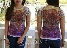 VOCAL PURPLE SUBLIMATION CRYSTAL BURNOUT MEDALLION SHIRT COWGIRL SEXY L LARGE