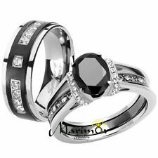 Her & His Black Cz Stainless Steel Wedding Engagement Ring & Titanium Band Set