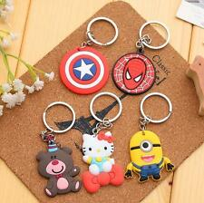Cartoon Characters Minions Spider Man Soft Key Chain Rubber Key rings Party Gift