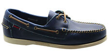 Sebago Horween Dockside Mens Boat Shoes Navy Blue Leather Lace Up B720003 D52