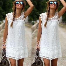 Women Casual Lace Sleeveless Party Evening Cocktail White Mini Dress Sexy