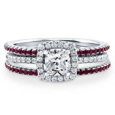 BERRICLE Sterling Silver 1.14 Carat Simulated Ruby CZ Halo Engagement Ring Set