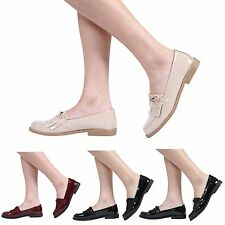 NEW WOMENS LADIES LOW HEEL FRINGE TASSEL BOW WORK SCHOOL SHOES LOAFERS SIZE 3-8