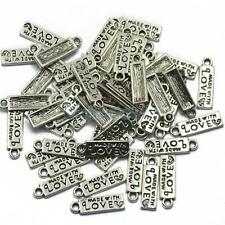 50pcs Made With Love Charms Metal Pendant Silver or Antique Bronze 18 x 5 mm