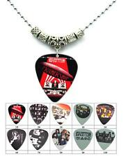 Tibetan Silver LED Zeppelin Guitar Pick Pendant Necklace  2.4mm Bead Necklace