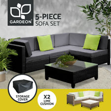 Black/Brown Outdoor Furniture Wicker PE Rattan Set Garden Lounge Sofa BALI