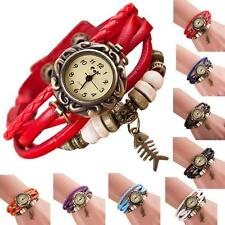 Casual Quartz Weave Around Leather Fishbone Bracelet Lady Woman Girl Wrist Watch