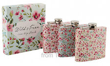 6oz Ditsy Floral Ladies Stainless Steel Gift Boxed Hip Flask Flowers Chic Shabby