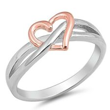 Two-toned Plated Ininity Heart .925 Sterling Silver Ring Sizes 4-10