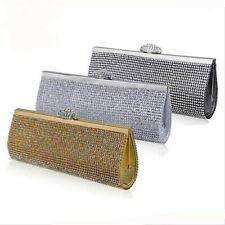 Party Crystal Diamante Evening Bag Metal Chain Handbag Clutch Rhinestone Purse